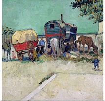 The Caravans, Gypsy Encampment near Arles, 1888 (oil on canvas)