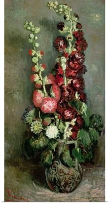Vase of Hollyhocks, 1886 (oil on canvas)