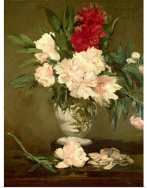 Vase of Peonies on a Small Pedestal, 1864 (oil on canvas)