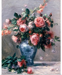 Vase of Roses (oil on canvas)