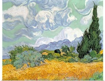 Wheatfield with Cypresses, 1889 (oil on canvas)