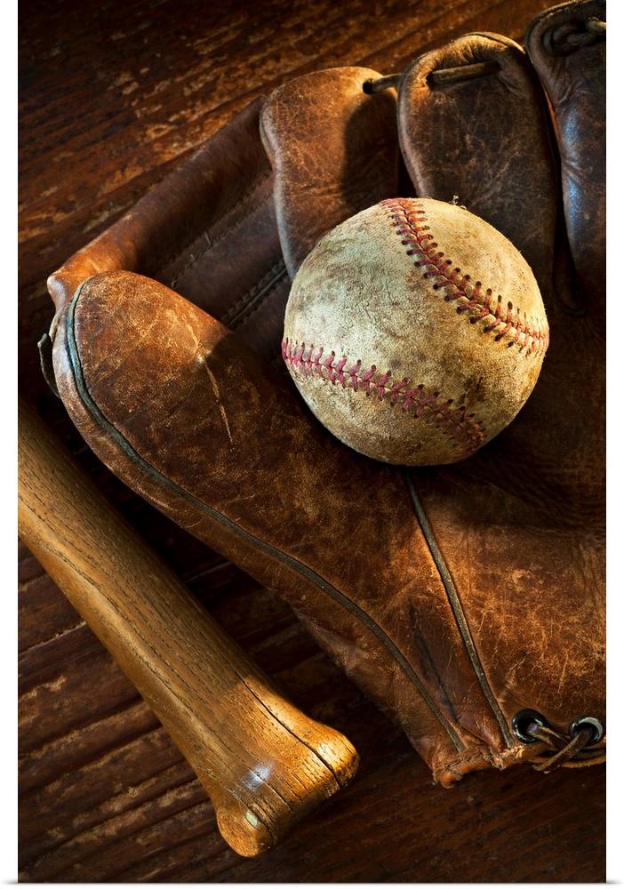 Baseball Glove Painting : Poster print wall art entitled antique baseball on