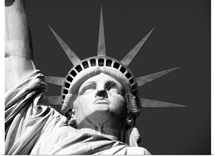 Close up of the head of the Statue of Liberty, New York City, black and white