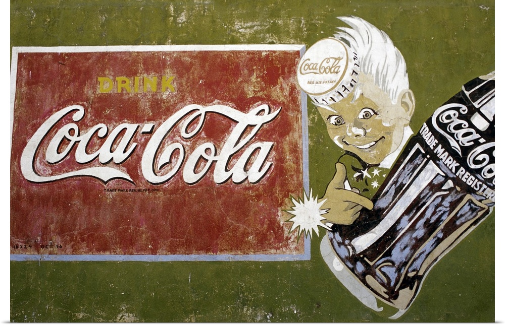 Poster print wall art entitled coca cola mural surprise for Coca cola wall mural