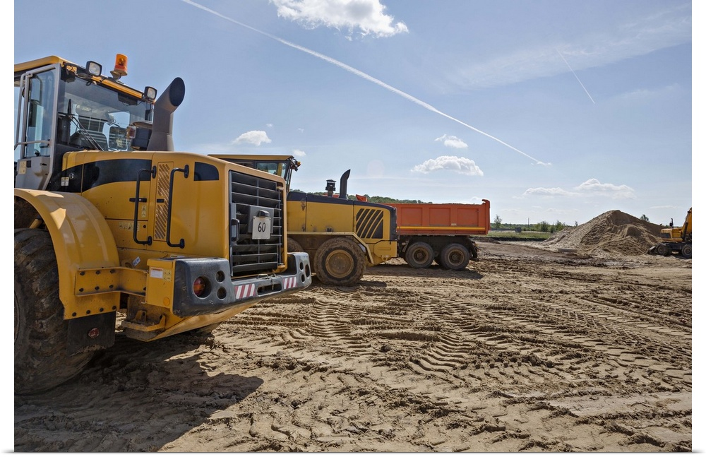 Poster Print Wall Art Entitled Construction Vehicles On