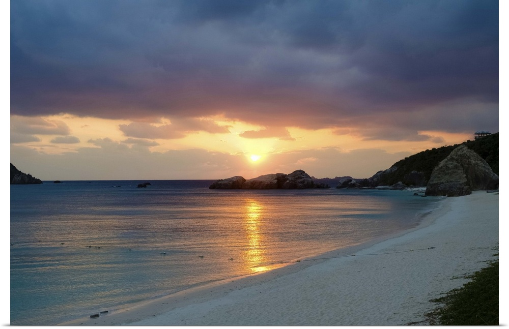 Tropical Island Beach Sunset: Poster Print Wall Art Entitled Deserted Tropical Island