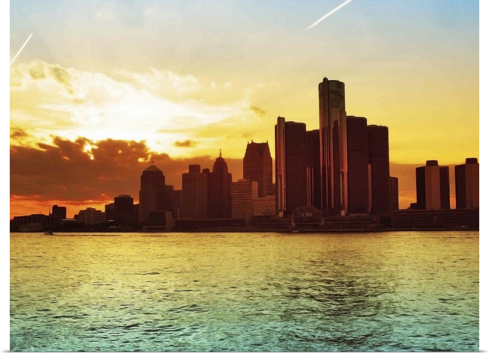 Poster Print Wall Art entitled Detroit skyline, Michigan | eBay