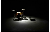 Drum kit, elevated view