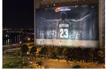 Fans react in downtown Cleveland after the Cleveland Cavaliers won the NBA Championship