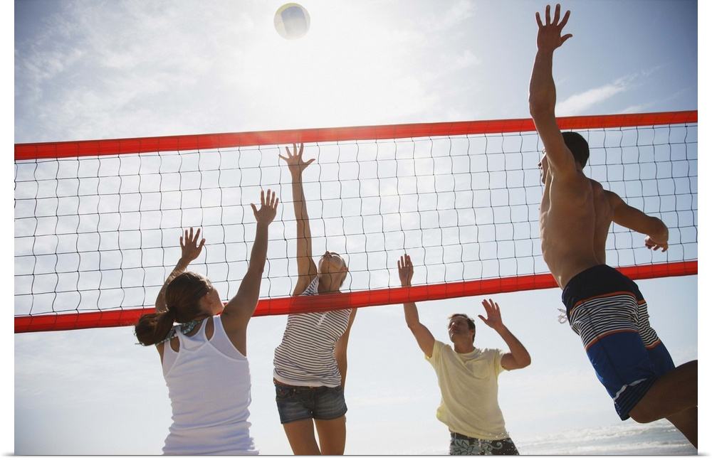 Poster Print Wall Art entitled Friends playing volleyball ...