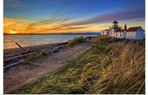 Lighthouse at sunset, Washington