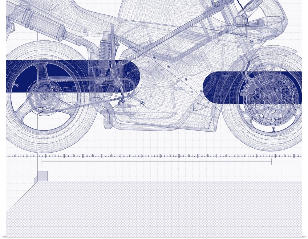 Poster print wall art entitled motor bike blueprint ebay poster print wall art entitled motor bike blueprint malvernweather Gallery