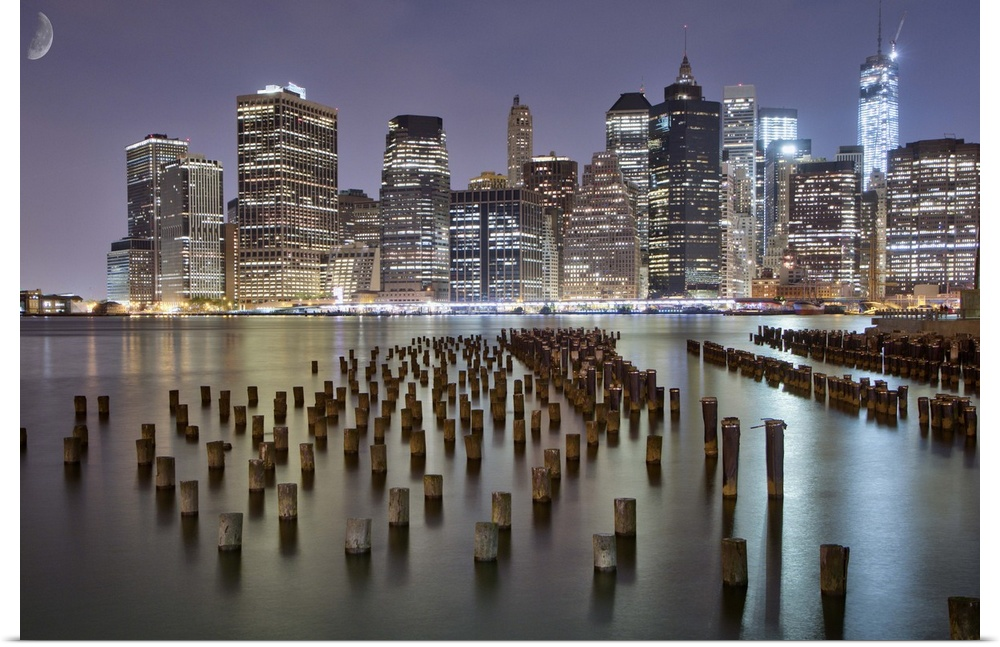 poster print wall art entitled new york city skyline at night ebay. Black Bedroom Furniture Sets. Home Design Ideas