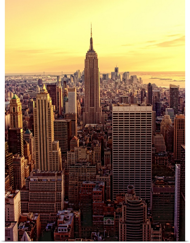 poster print wall art entitled new york skyline city with empire state building ebay. Black Bedroom Furniture Sets. Home Design Ideas