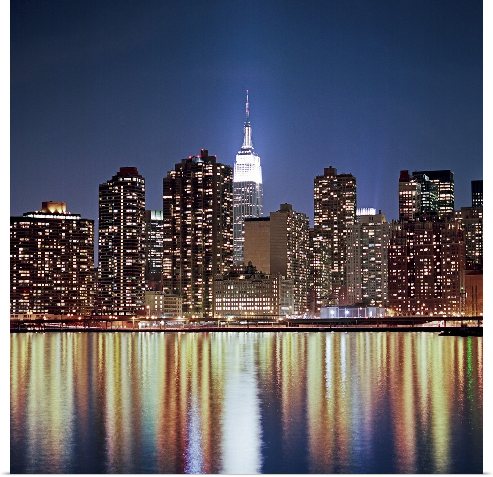 poster print wall art entitled reflection of skyline at night new york usa ebay. Black Bedroom Furniture Sets. Home Design Ideas