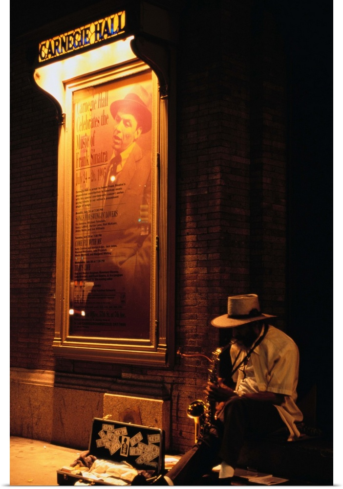Poster Print Wall Art entitled Saxophone player on street outside ...