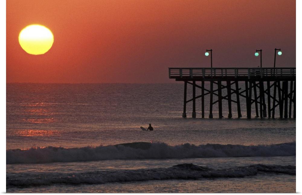 Poster Print Wall Art Entitled Surfer At Sunrise, Daytona