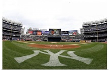 View from field level prior during a game at Yankee Stadium in New York City