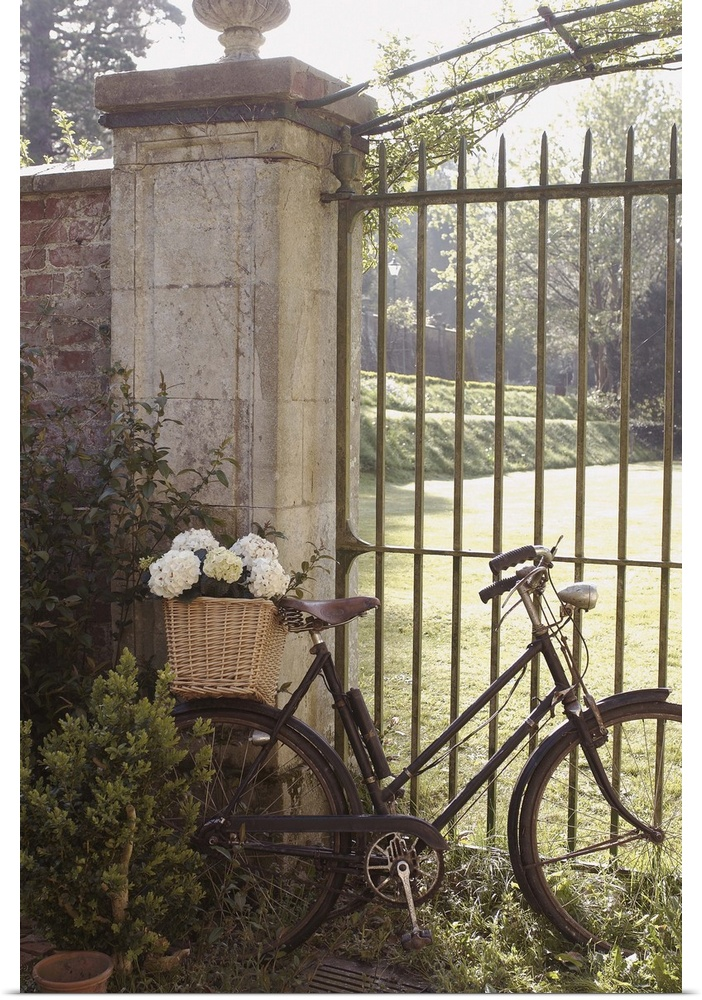 Poster print wall art entitled vintage bicycle leaning - Wrought iron bicycle wall art ...