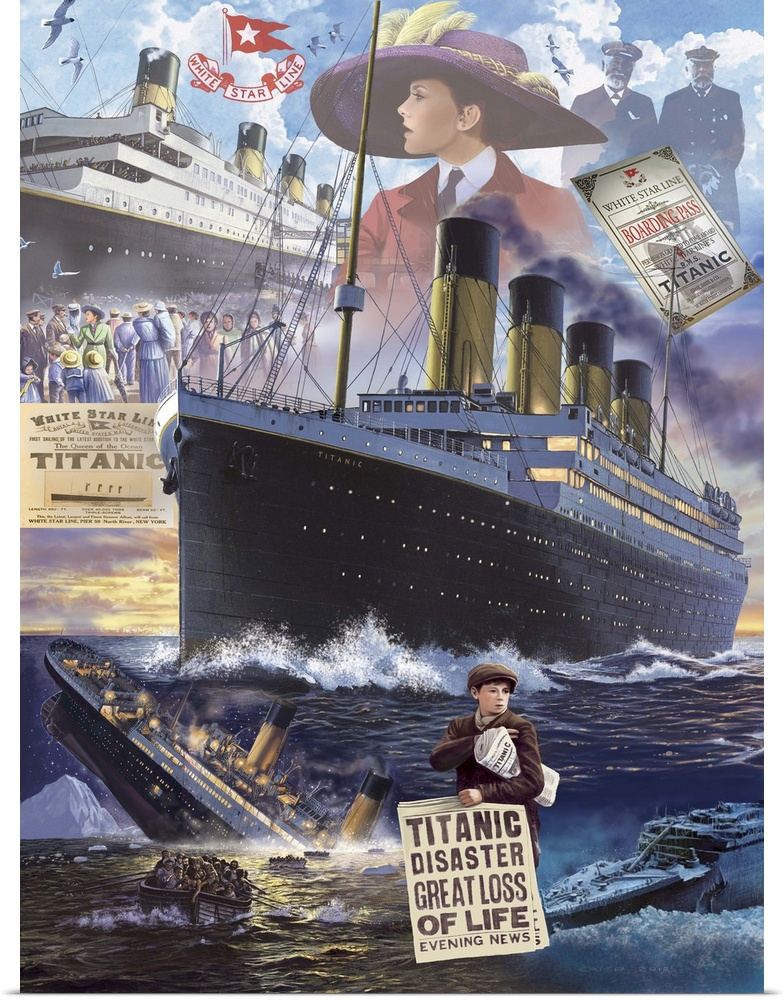 Poster Print Wall Art Entitled Titanic Vertical Ebay