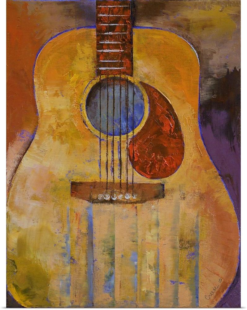 poster print wall art entitled acoustic guitar ebay. Black Bedroom Furniture Sets. Home Design Ideas