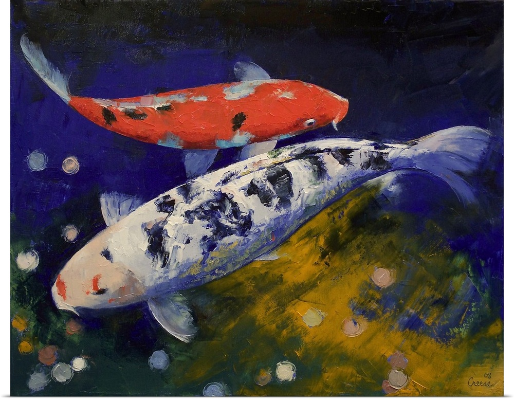 Poster print wall art entitled bekko koi fish ebay for Koi carp wall art