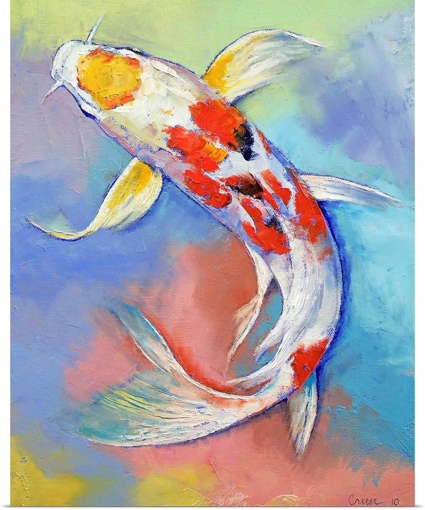 Poster print wall art entitled butterfly koi fish for Koi prints canvas
