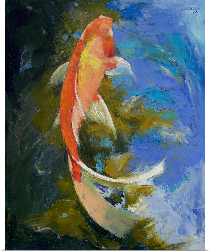 Poster print wall art entitled butterfly koi painting ebay for Koi wall hanging