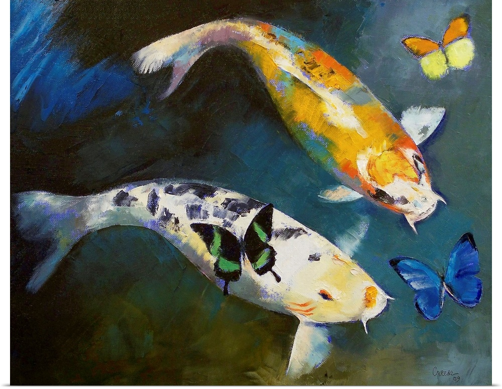 Poster print wall art entitled koi fish and butterflies ebay for Koi fish art print