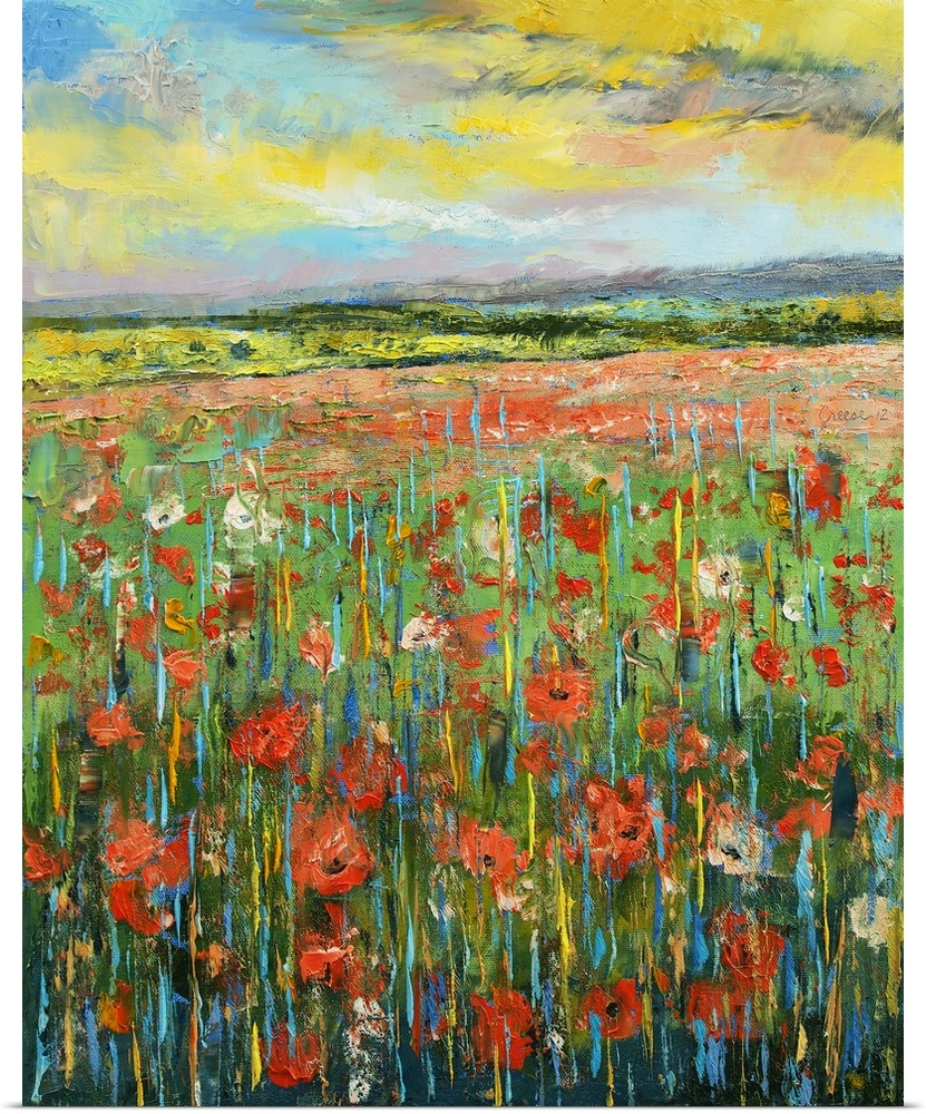 Poster Print Wall Art Entitled Poppy Landscape