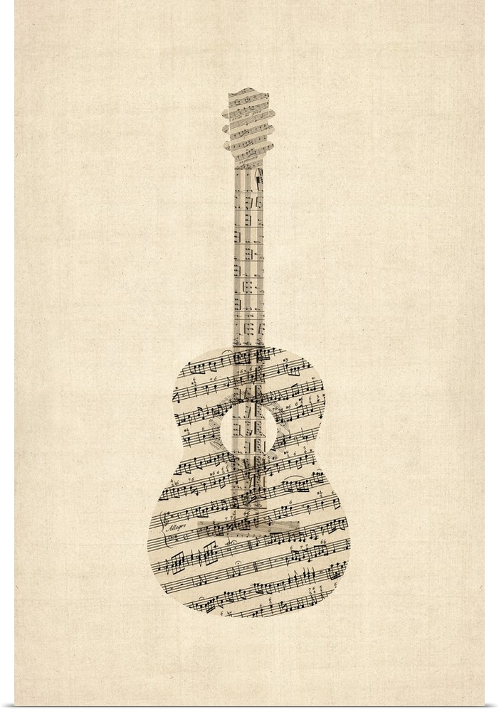 poster print wall art entitled acoustic guitar old sheet music ebay. Black Bedroom Furniture Sets. Home Design Ideas