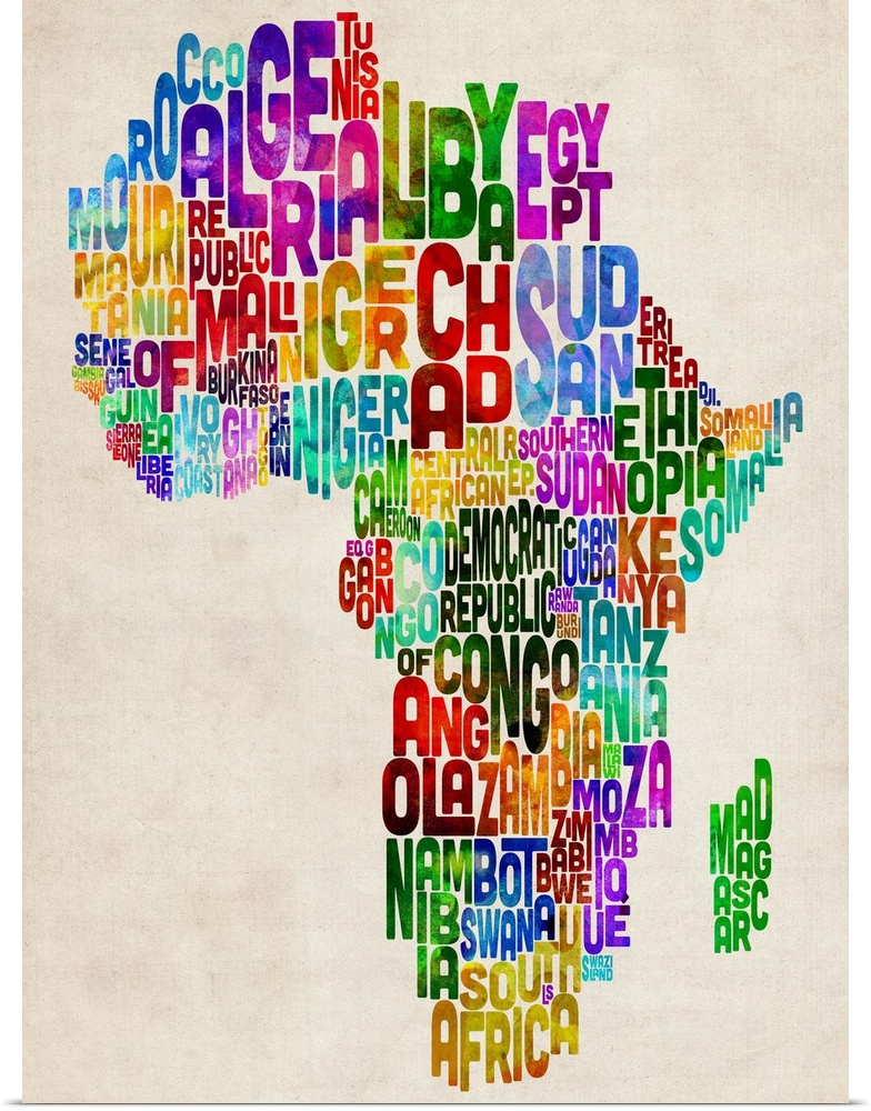 Poster print wall art entitled african countries text map for Funky home decor south africa