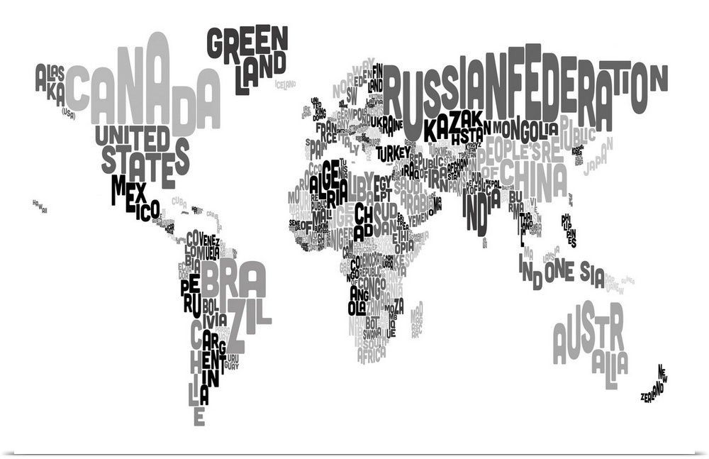 Poster print wall art entitled country names world map black and poster print wall art entitled country names world gumiabroncs Choice Image