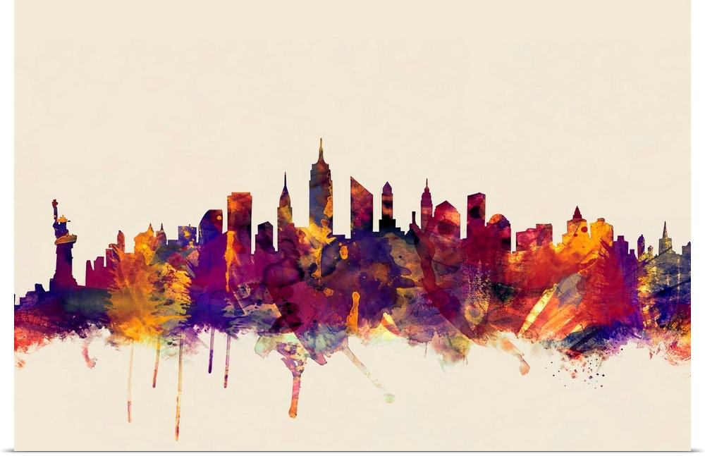 Line Art New York City : Poster print wall art entitled new york city skyline