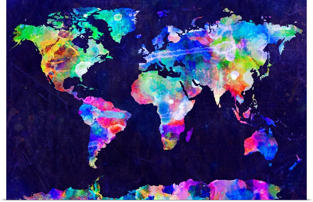 Poster Print Wall Art Entitled World Map Urban Watercolor