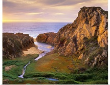 Garrapata Creek flowing into the Pacific Ocean, Garrapata State Beach, Big Sur