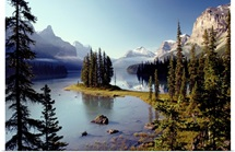 Maligne Lake, which is the largest and deepest lake in Alberta's Jasper National Park, Canada