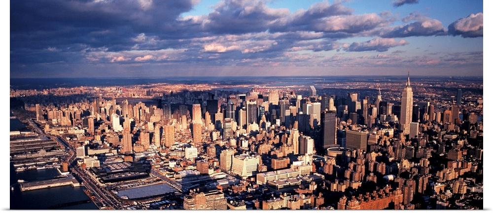 Poster Print Wall Art entitled Aerial Midtown Manhattan New York ...
