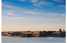 Buildings at waterfront, US Naval Academy, Severn River, Annapolis, Maryland