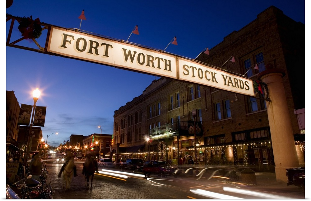 Poster Print Wall Art Entitled Signboard Over A Road At Dusk Fort Worth Ebay