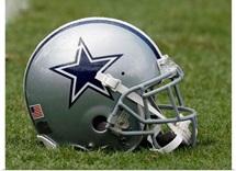 A Dallas Cowboys Helmet on the Field