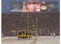 Green Bay Packers Huddle at Lambeau Field