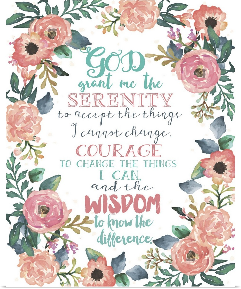 poster print wall art entitled serenity prayer floral ebay