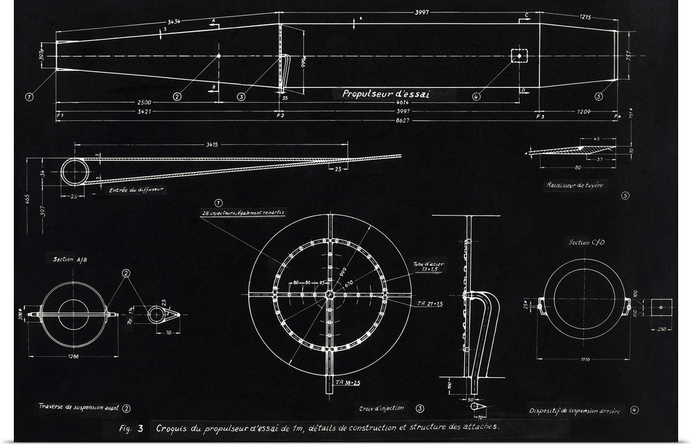 Poster print wall art entitled german wwii ramjet engine blueprint poster print wall art entitled german wwii ramjet malvernweather Images