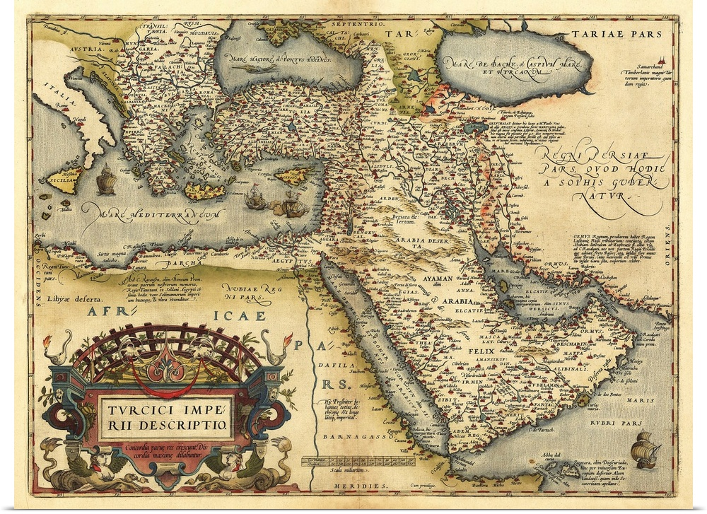 Poster Print Wall Art entitled Ortelius\'s map of Ottoman Empire ...