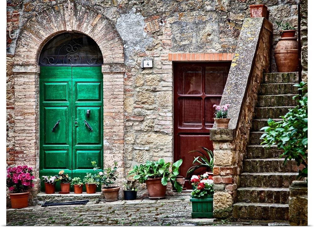 Poster Print Wall Art Entitled Tuscan Village Tuscany