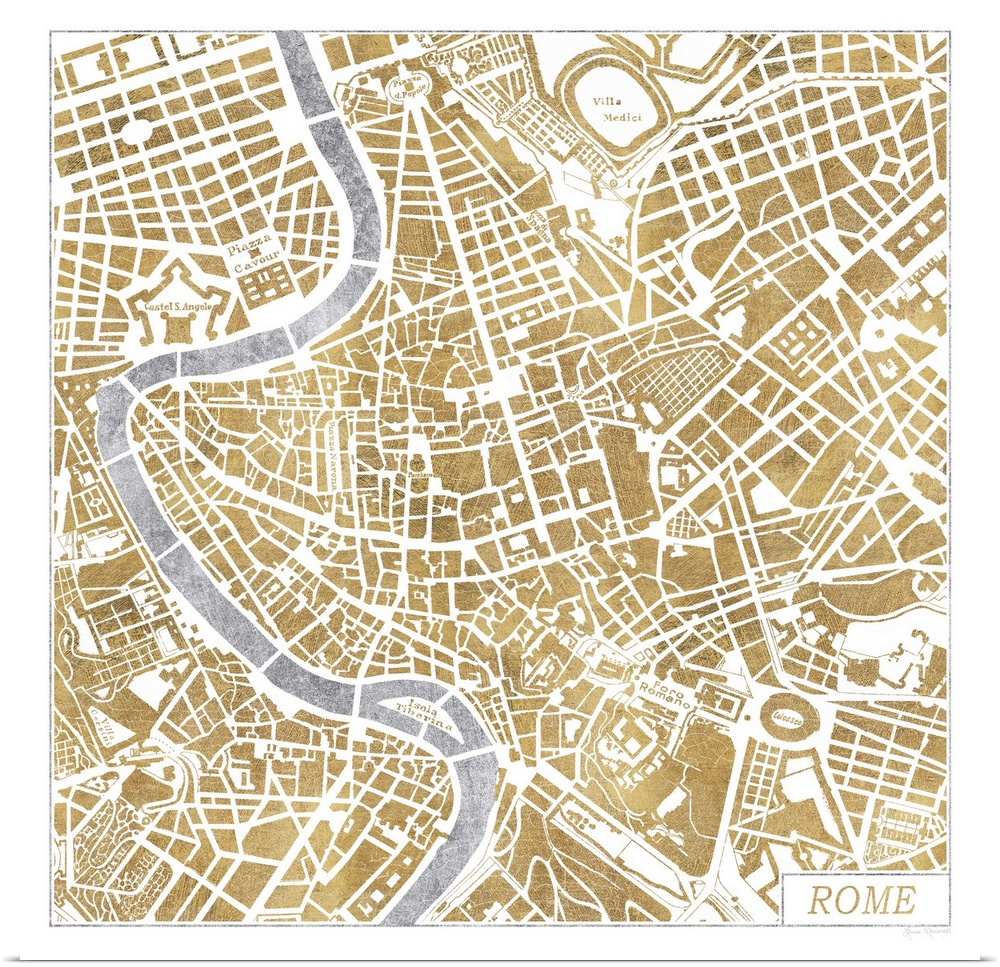 Poster Print Wall Art entitled Gilded Rome Map | eBay