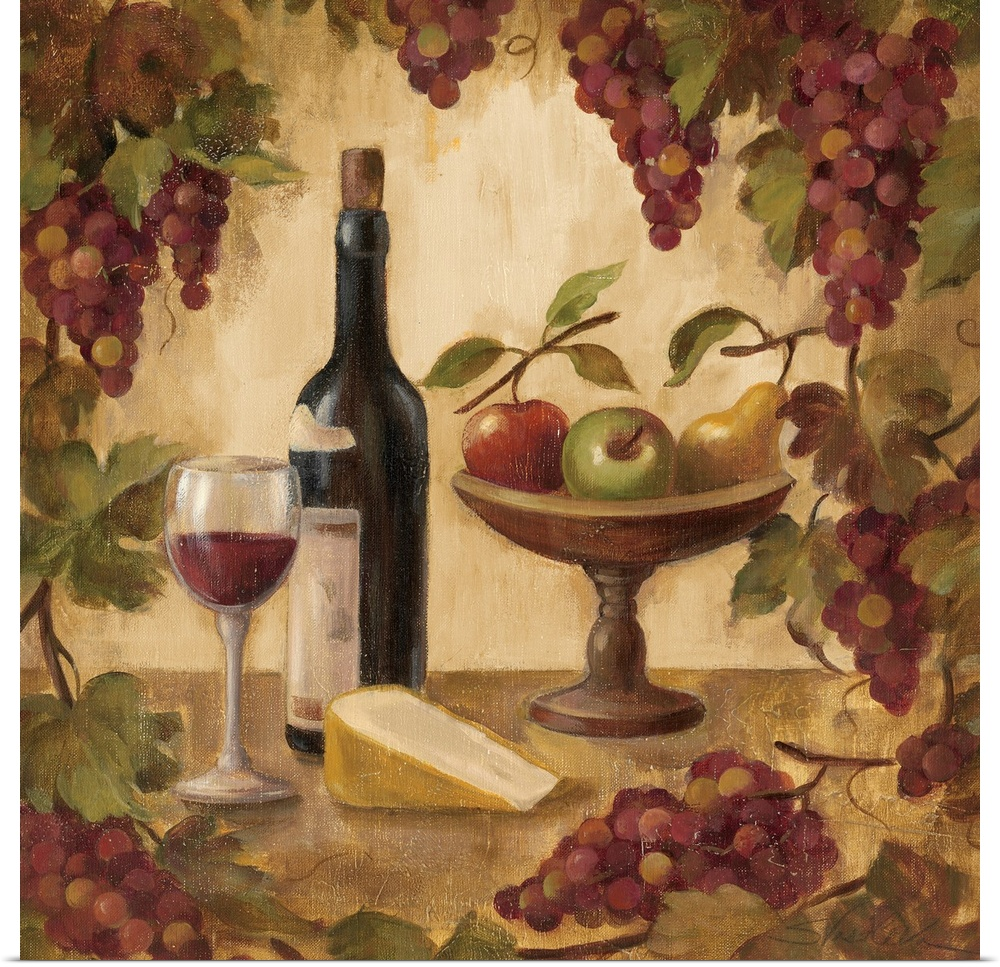 Poster Print Wall Art entitled Wine and Cheese II | eBay Wine And Cheese Art