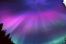 Aurora Corona Over Crow Creek Girdwood during Winter in Southcentral Alaska