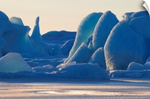 Scenic of large blue iceberg formations of Sheridan Glacier, Southcentral Alaska